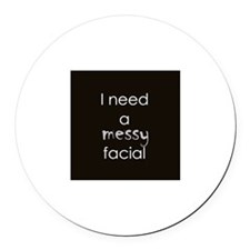 Messy Facial Round Car Magnet