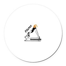 Pilates Cat Round Car Magnet