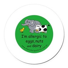 Eggs, nuts and dairy Round Car Magnet
