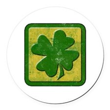 Shamrock Logo St Patricks Day Round Car Magnet