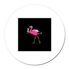 Pink Flamigo With Martini Round Car Magnet