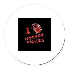 I heart horror movies Round Car Magnet
