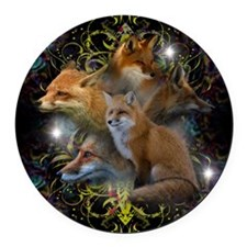 Foxes Round Car Magnet