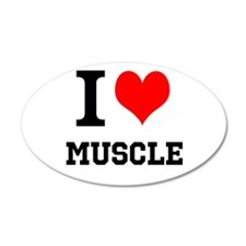 I Love Muscle 38.5 x 24.5 Oval Wall Peel
