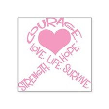 Pink Ribbon of Words Square Sticker