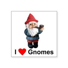 I Love Gnomes Square Sticker