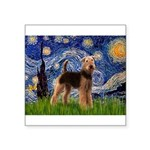Starry Night - Airedale #6 Square Sticker 3