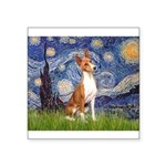 Starry Night & Basenji Square Sticker 3