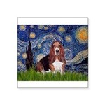 Starry / Basset Hound Square Sticker 3