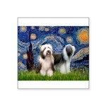 Starry / 2 Bearded Collies Square Sticker 3