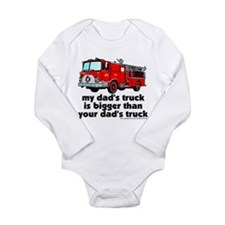 Cute Firetruck Long Sleeve Infant Bodysuit
