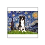 Starry Night Border Collie Square Sticker 3