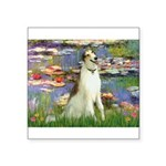 Borzoi in Monet's Lilies Square Sticker 3