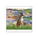 Lilies & Brindle Boxer Square Sticker 3