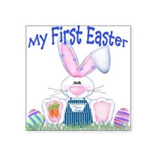 Boy first Easter Bunny! Square Sticker