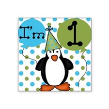 Penguin 1st Birthday Square Sticker