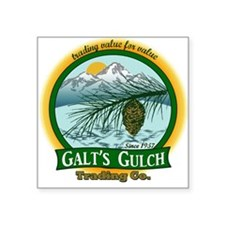 Galt's Gulch Green/Gold Square Sticker