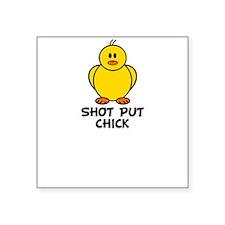 Shot Put Chick Square Sticker