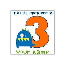 3rd Birthday Monster Square Sticker