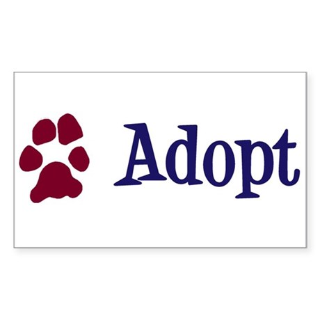 Adopt (With Paws) Sticker (Rectangle)