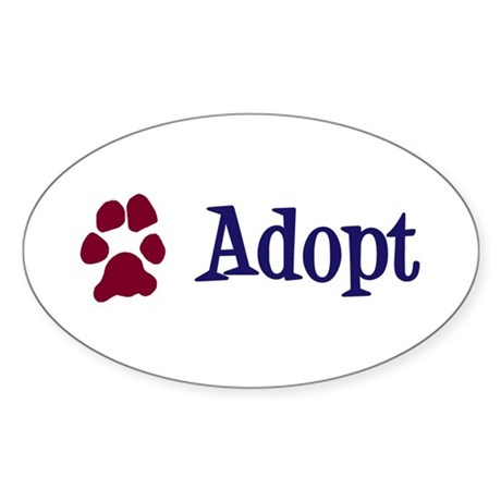 Adopt (With Paws) Sticker (Oval)