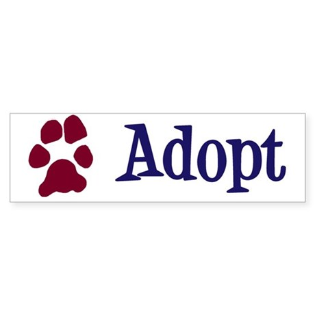 Adopt (With Paws) Sticker (Bumper)
