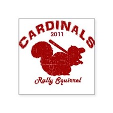 Cardinals Rally Squirrel Square Sticker