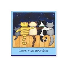 Love One Another - Cats / Kit Square Sticker