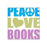 Peace Love Books Square Sticker