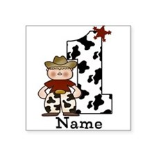 First Birthday Cowboy Square Sticker