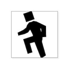 Box Head Black Square Sticker