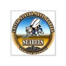 US Navy Seabees Square Sticker