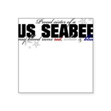 Red, white & blue Seabee Sist Square Sticker