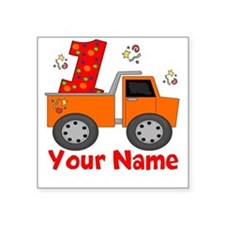 1st Birthday Dump Truck Square Sticker