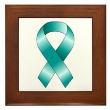 Teal Ribbon Framed Tile