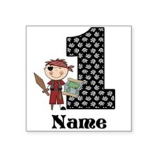 1st Birthday Pirate Square Sticker