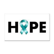 Teal Ribbon Hope Rectangle Car Magnet