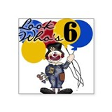 Circus 6th Birthday Square Sticker