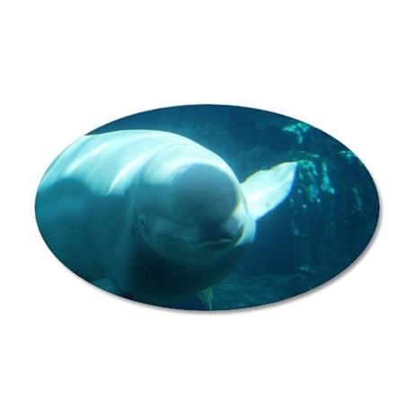 Close up of a Beluga Whale 3 38.5 x 24.5 Oval Wall