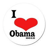 I Love Obama Round Car Magnet