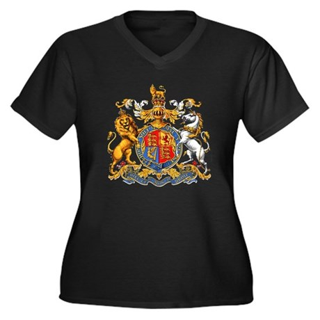 Royal Coat of Arms Women's Plus Size V-Neck Dark T