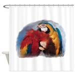 Macaw Parrots Preening Shower Curtain