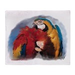 Macaw Parrots Preening Throw Blanket
