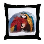 Macaw Parrots Preening Throw Pillow