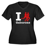 I Run Gaborone Women's Plus Size V-Neck Dark T-Shi