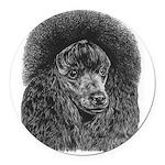 Black poodle Round Car Magnet