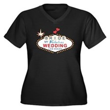 Vegas Bride Women's Plus Size V-Neck Dark T-Shirt