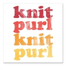 "Knit Purl Retro Square Car Magnet 3"" x 3"""