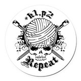 Knitting Skull Round Car Magnet