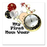 New Year Baby Watch Square Car Magnet